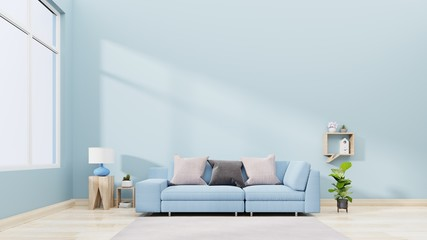 Interior wall mock up with blue sofa, pillows and plants in vase on empty blue background,3D rendering