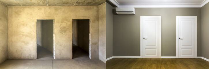 Comparison of a room in an apartment before and after renovation works. New house interior with plastered and painted walls, white doors and wooden oak floor. Real estate development concept. Wall mural