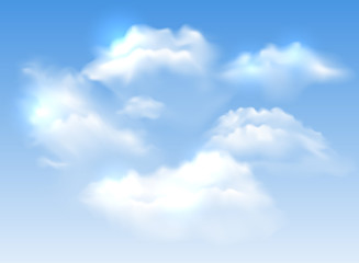 Vector fluffy realistic white clouds on blue sky background