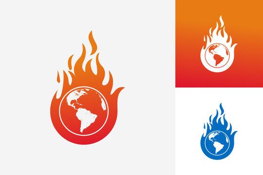 World Fire Logo Template Design Vector, Emblem, Design Concept, Creative Symbol, Icon