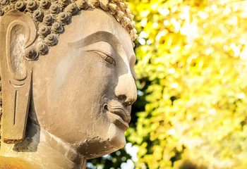 Budda head in sunlight, Peace of mind background concept