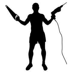 Silhouette of worker with tools.