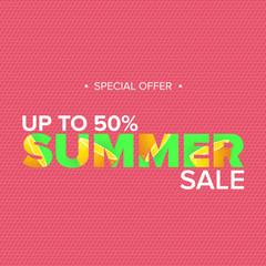 vector summer sale modern design template web banner or poster. Summer sale label with typographic text on pink background