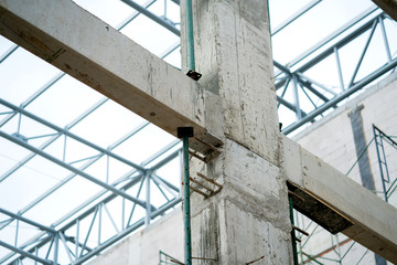 concrete column and beam construction site background
