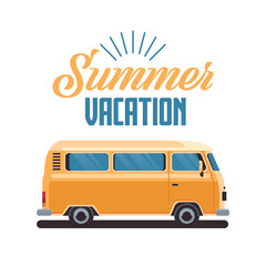 Summer vacation surf bus retro surfing vintage greeting card vertical with lettering template poster flat vector illustration