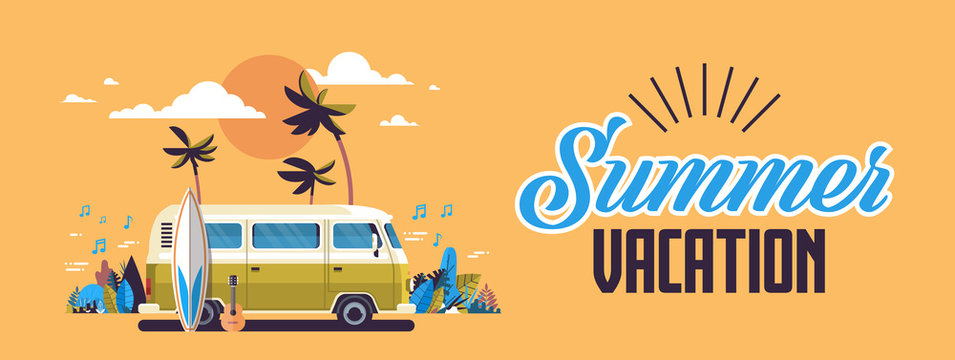 Summer vacation surf bus sunset tropical beach retro surfing vintage greeting card horizontal banner with lettering template poster flat vector illustration