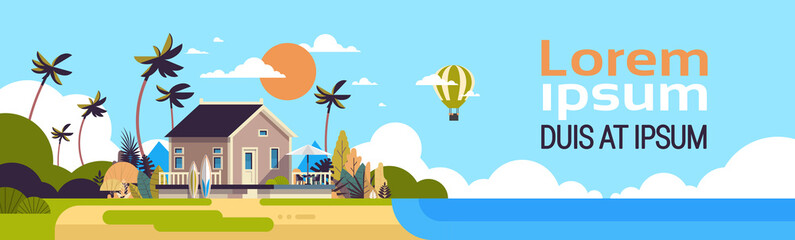 big summer villa house air balloon surf board palm trees greeting card poster template flat copy space banner vector illustration