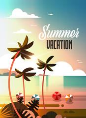 sunset tropical palm beach balls view summer vacation seaside sea ocean flat vertical lettering vector illustration