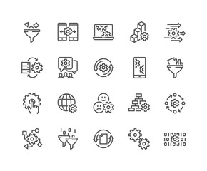 Simple Set of Data Processing Related Vector Line Icons. Contains such Icons as Filter, Gear, Scheme and more. Editable Stroke. 48x48 Pixel Perfect.