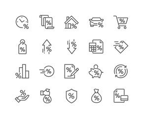 Simple Set of Loan Related Vector Line Icons. Contains such Icons as Interest Rate, Investment Plan, Percentage Diagram and more. Editable Stroke. 48x48 Pixel Perfect.