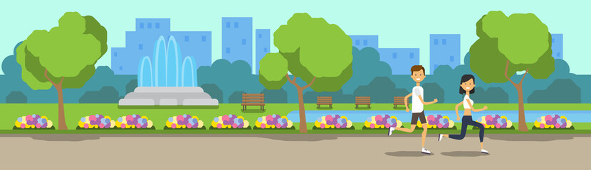 city park man woman activities running green lawn flowers fountain trees cityscape template background banner flat vector illustration