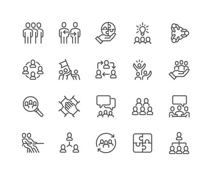 Simple Set of Team Work Related Vector Line Icons. Contains such Icons as Collaboration, Research, Meeting and more. Editable Stroke. 48x48 Pixel Perfect.