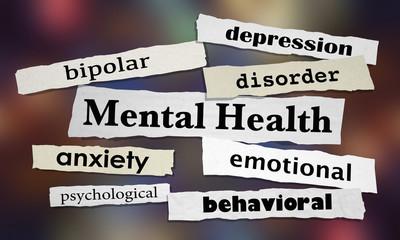 Mental Health Disorders Depression Bipolar Newspaper Headlines 3d Illustration