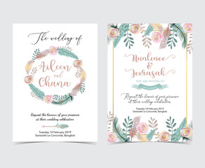Geometry gold wedding invitation card with flower,leaf,wreath and frame