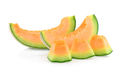 slice of japanese melons, orange melon, or cantaloupe melon isolated on white background