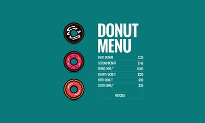 Donut Menu Selection App Screen
