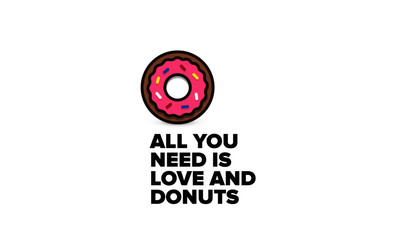 All you need is love and donuts quote poster design