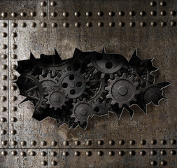old metal armour background with rusty gears and cogs 3d illustration