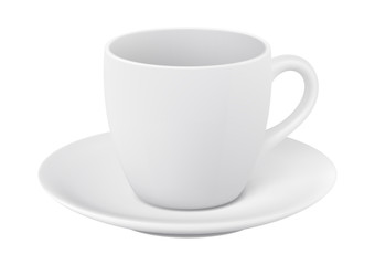 Cup and saucer on white background. Photorealistic vector illustration.