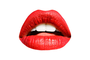 Lips, red lipstick, mouth isolated on white background with white teeth. Sexy kiss, girl smile, female mouth close up, sensual seductive tongue in the mouth of a young woman cosmetics. Cosmetology