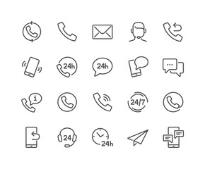 Simple Set of Contact Related Vector Line Icons. 