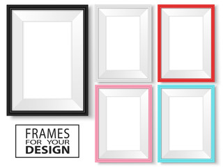 Frames set. Realistic frames mock up. Picture or photo frames collection. Colorful templates. Vector templates isolated on white.