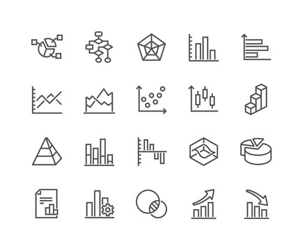 Simple Set of Charts and Diagrams Related Vector Line Icons.  Contains such Icons as Dot Plot, 3D Chart, Trend and more. Editable Stroke. 48x48 Pixel Perfect.