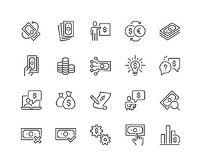 Simple Set of Money Related Vector Line Icons.  Contains such Icons as Business Idea, Financial Audit, Report and more. Editable Stroke. 48x48 Pixel Perfect. - fototapety na wymiar