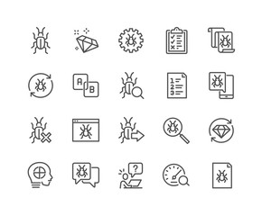 Simple Set of Quality Assurance Related Vector Line Icons.  Contains such Icons as UI Testing, Bug Report, Test Case and more. Editable Stroke. 48x48 Pixel Perfect.