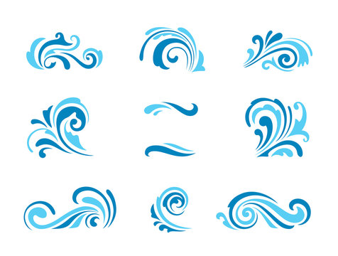 Wave icons, set of simple swirls and splashes on white