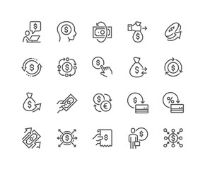 Simple Set of Money Movement Related Vector Line Icons. 