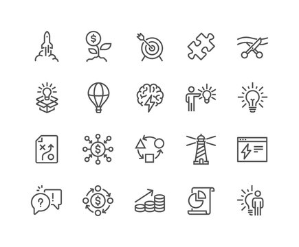 Simple Set of Startup Related Vector Line Icons. 