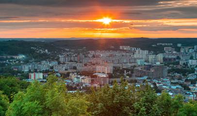 Summer sunset over Lviv, Ukraine