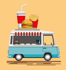 Street fast food automobile. Fast food truck city car. Fast-food car. Street food truck. Street food car. Food truck street food van. Flat style. Flat design. Vector illustration Eps10 file