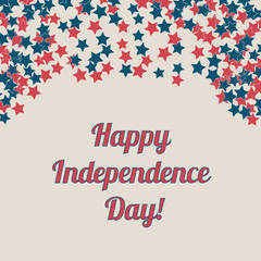 Happy Independence Day banner. 4th of July greeting card. Retro patriotic vector illustration in colors of flag of USA: red, blue and white. Stars confetti.