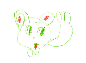 Cat pattern child 4-5 years colored pencils isolated