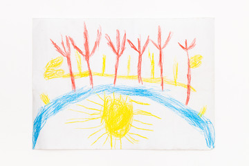 Drawing with colored pencils baby landscape with sun
