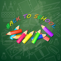 Back to school card with multicolored pencils. Vector.