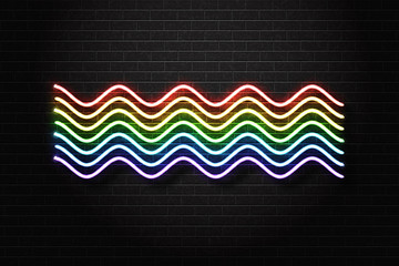 Vector realistic isolated neon sign of rainbow for decoration and covering on the wall background.