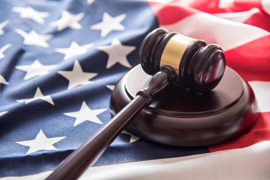 gavel justice hammer on USA flag background