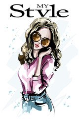 Hand drawn beautiful young woman in sunglasses. Fashion woman portrait. Stylish girl. Sketch. Vector illustration.