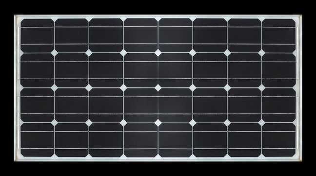 solar panel on black background