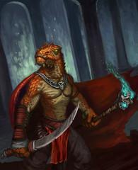 Garden Poster Brown Dragon-kin warrior protecting an underground lair - digital fantasy painting