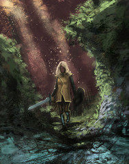 Female adventurer in a dangerous forest with her magic sword going on a quest  - Digital fantasy painting