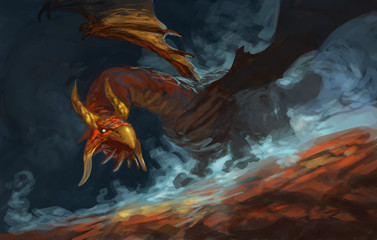 Red dragon poised with blue magic fog swirling around him  - Digital fantasy painting