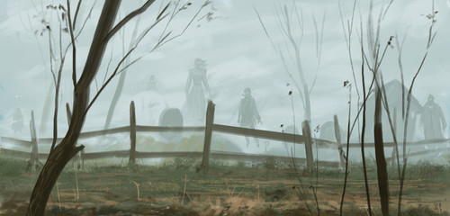Poster Khaki Old english graveyard inhabited by undead ghosts dressed in period outfits - digital fantasy painting