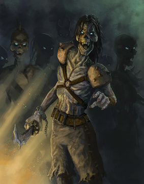 Undead pirate zombies coming after an adventurer - Digital fantasy painting