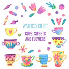 Watercolor set with cups, sweets and flowers isolated on white background. Hand drawn illustration with cute elements for design.