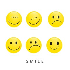 Smile Emoticon Vector Template Design Illustration
