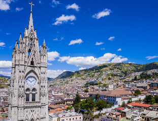 Ecuador, city view of Quito from gothic Basilica del Voto Nacional clock tower